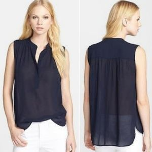 Vince Sleeveless Shirred Crepe Top Navy Tank 0